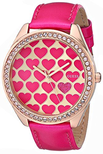 GUESS Women's U0535L1 Pink Heart Watch with Rose Gold-Tone Case