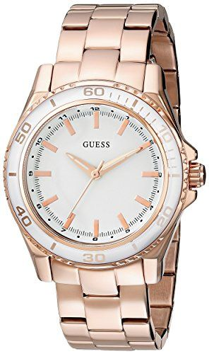 GUESS Women's U0557L2 Stainless Steel Rose Gold-Tone Mid-Size Watch with Whi...