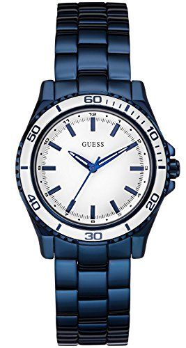 GUESS Women's U0557L3 Iconic Blue Mid-Size Stainless Watch with White Top Ri...