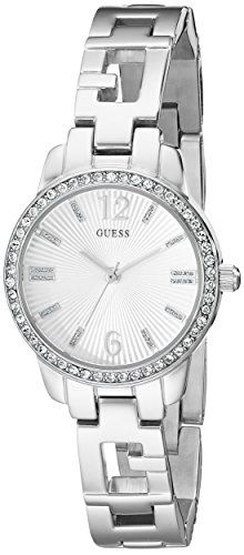 GUESS Women's U0568L1 Iconci Silver-Tone Logo Watch with Genuine Crystals and Se...