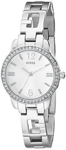 GUESS Womens U0568L1 Iconci SilverTone Logo Watch with Genuine Crystals  SelfAdj...