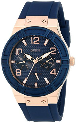 GUESS Women's U0571L1 Analog Quartz Blue Multi-Function Silicone Strap Watch...