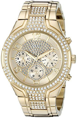 GUESS Women's U0628L2 Sporty Gold-Tone Watch with Champagne Dial , Crystal-A...