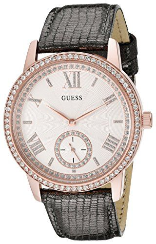GUESS Women's U0642L3 Classic Grey Watch with Genuine Leather Strap -- To vi...
