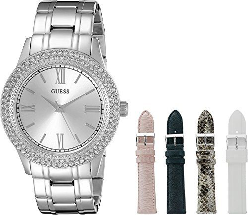 GUESS Women's U0713L1 Luxurious Silver-Tone Watch Set with Metal Bracelet an...