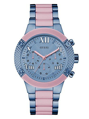 GUESS Women's U0770L4 Trendy Iconic Sky Blue and Pink Chrono-Look ** To view...