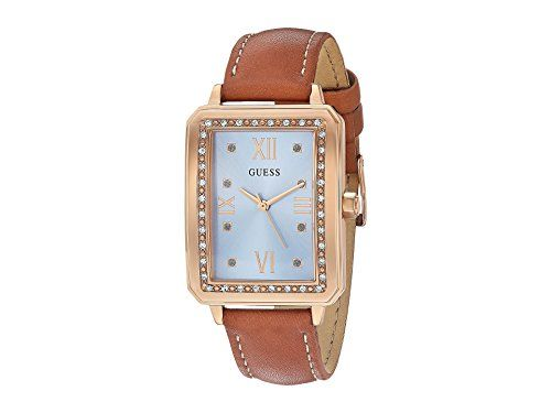 GUESS Women's U0841L2 Dressy Rose Gold-Tone Watch with Blue Dial , Crystal-A...