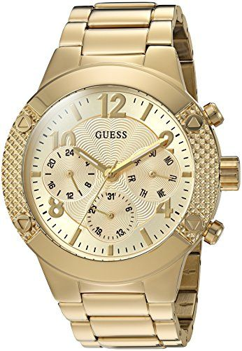 GUESS Women's Sporty Gold-Tone Stainless Steel Watch with Multi-function Dia...