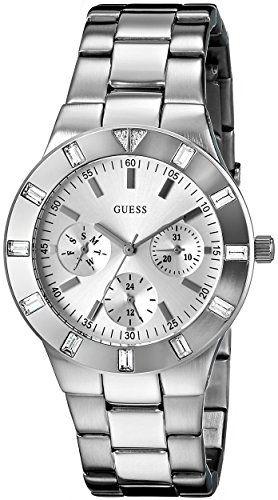GUESS Women's U10075L1 Feminine Hi-Shine Mid-Size Silver-Tone Sport Watch **...