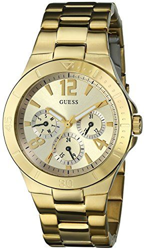 GUESS Women's U12631L1 Active Shine Gold-Tone Watch ** More info could be fo...
