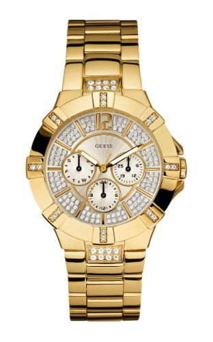 GUESS Women's U13576L1 Dazzling Sporty Gold-Tone Watch * You can find more d...