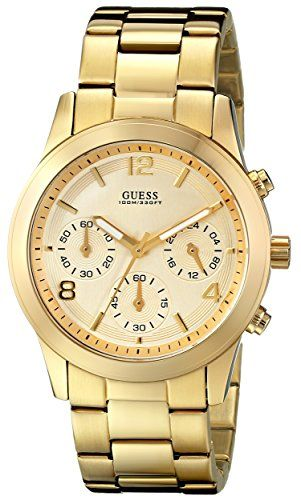 GUESS Women's U13578L1 Contemporary Gold-Tone Chronograph Watch ** Click image f...