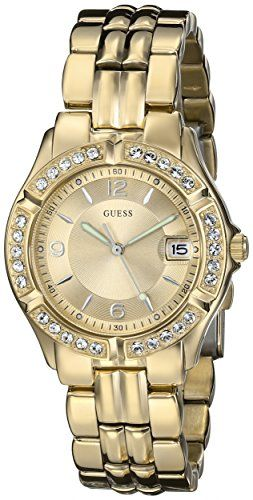 GUESS Women's U85110L1 Dazzling Sporty Mid-Size Gold-Tone Watch ** You can f...