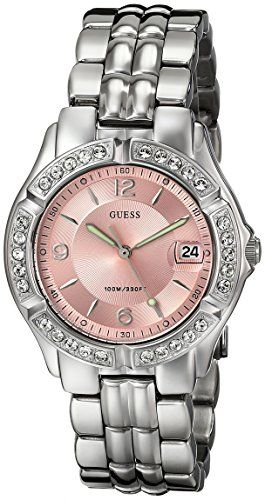 GUESS Women's G75791M Sporty Silver-Tone Watch with Pink Dial , Crystal-Accented...