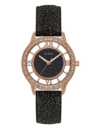 GUESS Womens Quartz Stainless Steel and Leather Casual Watch ColorBlack Model U1...