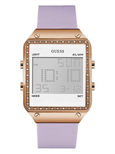 GUESS Womens Quartz Stainless Steel and Silicone Casual Watch ColorPurple Model ...