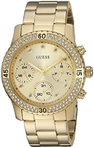 GUESS Women's U0851L2 Sporty Gold-Tone Watch with Gold Dial , Crystal-Accent...