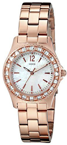 GUESS Women's U0025L3 Petite Sport and Sparkle Crystal Rose Gold-Tone Watch ...
