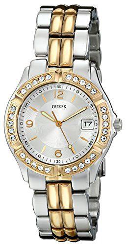 GUESS Womens U0026L1 Dazzling Sporty Silver  GoldTone MidSize Watch ** Check thi...