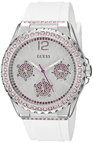 GUESS Womens U0032L6 Sporty SilverTone Watch with White Dial  CrystalAccented Be...