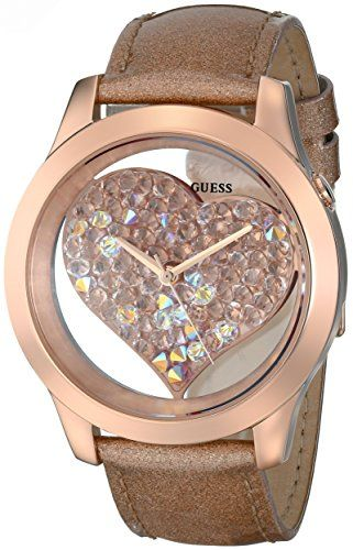 GUESS Womens U0113L3 Rose GoldTone Clearly Inspired Crystal Heart Watch ** Visit...