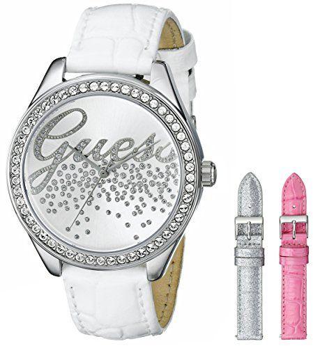 GUESS Womens U0201L2 Gala Petite Interchangeable Leather Straps SilverTone Watch...