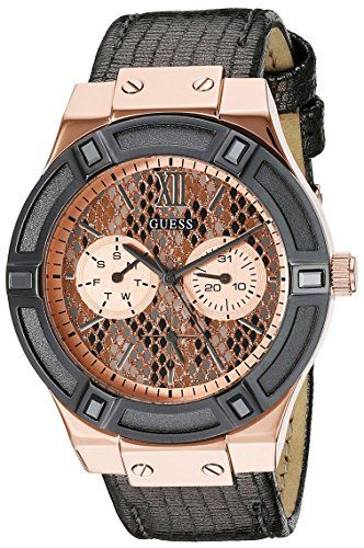 GUESS Women's U0289L4  Rose Gold-Tone Multi-Function Watch with Grey Python Dial...