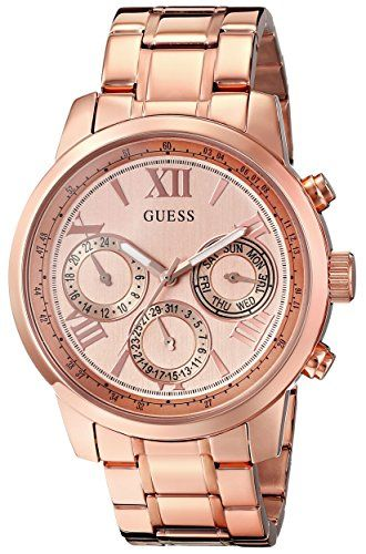 GUESS Womens U0330L2 Sporty Rose GoldTone Stainless Steel Watch with Multifuncti...