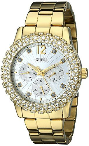 GUESS Women's U0335L2 Gold-Tone Multi-Function Watch with Genuine Crystal-Accent...