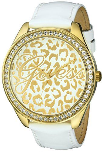 GUESS Women's U0346L1 Iconic White Genuine Leather Watch with Gold-Tone Case...