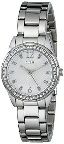 GUESS Womens U0445L1 Sporty SilverTone Watch with White Dial  CrystalAccented Be...