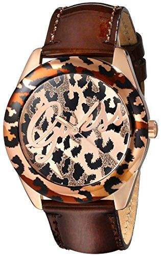 GUESS Womens U0455L3 Iconic Brown Animal Print Watch with Rose GoldTone Accents ...