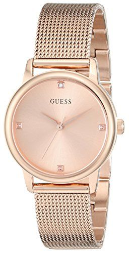 GUESS Women's U0532L3 Diamond-Accented Rose Gold-Tone Watch with Mesh Bracel...