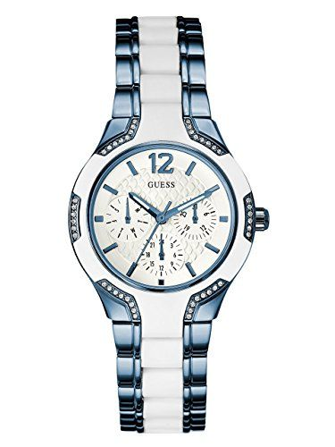 GUESS Womens U0556L9 Sporty Blue Watch with White Dial  CrystalAccented Bezel an...