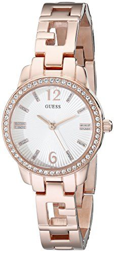GUESS Womens U0568L3 Iconic  Rose GoldTone Logo Watch with Genuine Crystals  Sel...