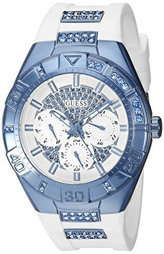 GUESS Women's U0653L2 Sporty White Silicone Watch with Sky Blue Accents and Mult...