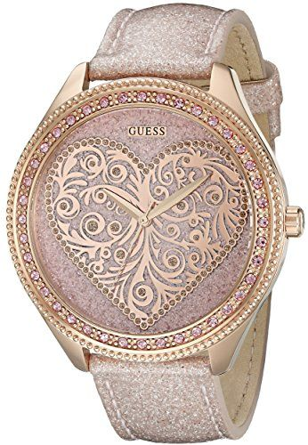 GUESS Womens U0697L3 Trendy Rose GoldTone Watch with Heart Dial *** More info co...