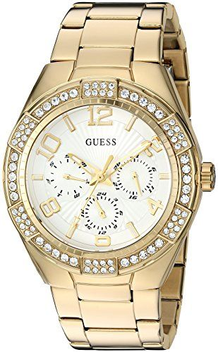 GUESS Womens U0729L2 Sporty GoldTone Stainless Steel Watch with Multifunction Di...