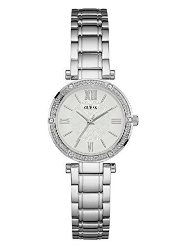 GUESS Womens U0767L1 Dressy SilverTone Watch with White Dial  CrystalAccented Be...