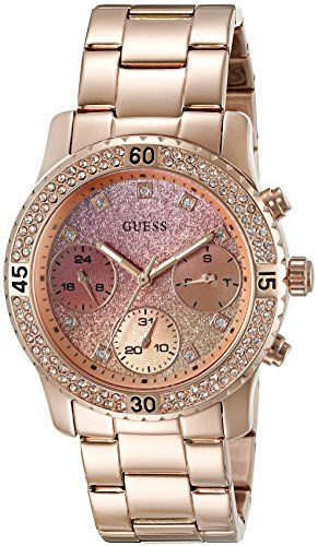 GUESS Womens U0774L3 Sporty Rose GoldTone Watch with Pink Dial  CrystalAccented ...