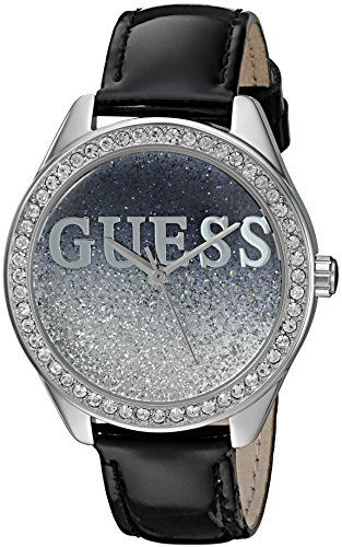 GUESS Womens U0823L2 Trendy SilverTone Watch with Black Dial  CrystalAccented Be...
