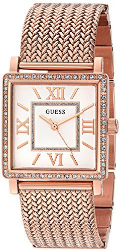 GUESS Womens U0826L3 Dressy Rose GoldTone Watch with White Dial  CrystalAccented...