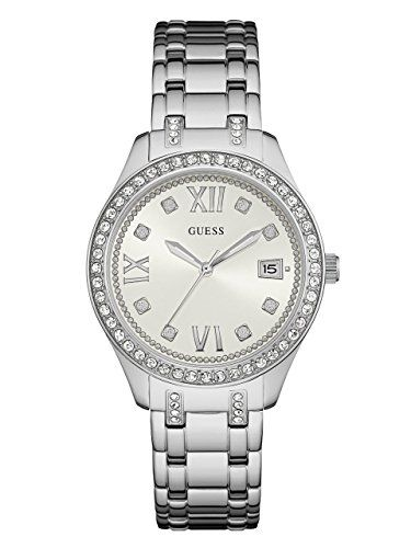 GUESS Womens U0848L1 Sporty SilverTone Watch with White Dial  CrystalAccented Be...