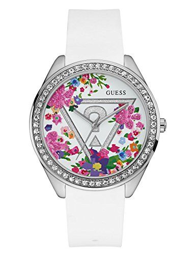 GUESS Womens U0904L1 Trendy SilverTone Watch with  White Dial  and Silicone Band...