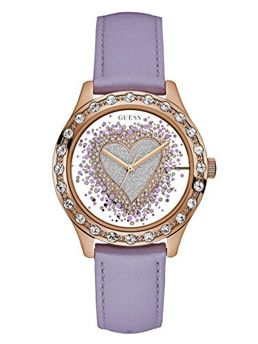GUESS Womens U0909L3 Trendy Rose GoldTone Watch with Silver Dial  CrystalAccente...
