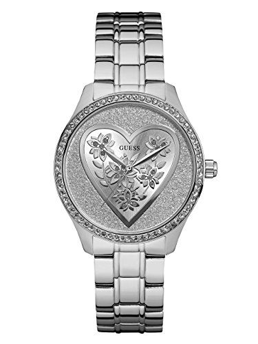 GUESS Womens U0910L1 Trendy SilverTone Watch with  Silver Dial  and Stainless St...