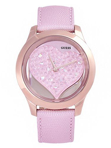 Guess Pink and Rose Gold-Tone Clear Heart Watch ** More info could be found at t...