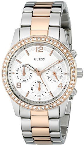 Guess U0122L1 chronograph silver dial stainless steel bracelet women watch NEW -...