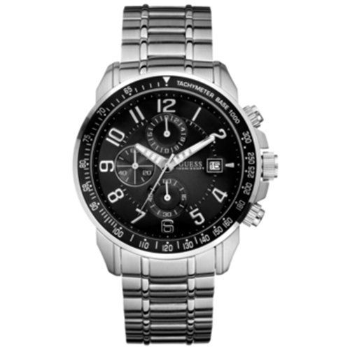 Guess U15072G1 chrono black dial silver stainless steel bracelet men watch NEW -...