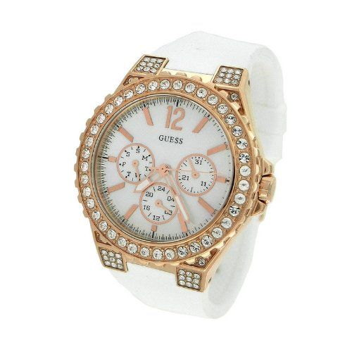 Guess U16529L1 chronograph mop dial stainless steel case white silicone strap wo...